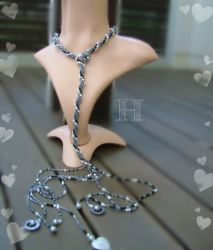 Shades of Gray Lariat Necklace (CH0316c)