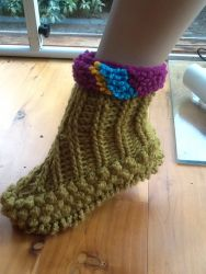 Crochet Booties - double soles.  Warm and great floor cleaner (CH0318)