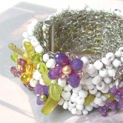 """""""Along a Pebbled Path"""" Wire Crochet Bracelet (CC0159)"""