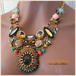 """Mix Media Necklace """"Warm My Heart"""" (CH0347)"""