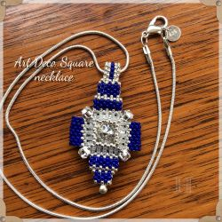 Art Deco Square necklace - Silver & Blue (CH0352)