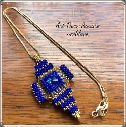 Art Deco Square necklace - Gold & Blue (CH0353)