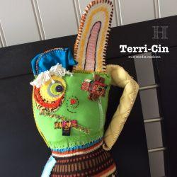 Terri-Cin mix media cushion (ch0356)