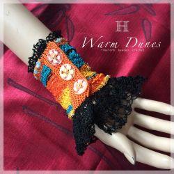 """Warm Dunes"" freeform beaded crochet bracelet (CH0358)"