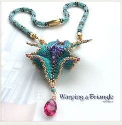 """""""Warped Beaded Triangle"""" necklace, CH0359"""