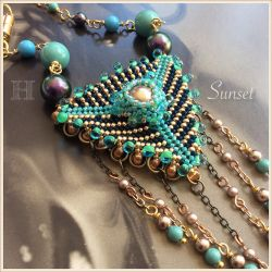 Beaded Geometric Triangle Dangles - Sunset necklace (CH0361) -SOLD