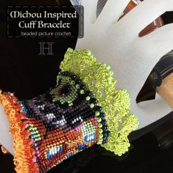Michou Inspired Cuff Bracelet (CH0363) - beaded picture crochet