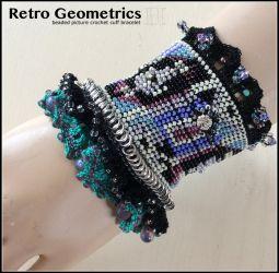Beaded Picture Crochet Cuff Bracelet (ch0366)