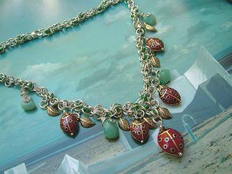 Handmade Ladybug Amazonite necklace (CC00162)