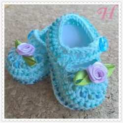 Crochet Baby Shoes - Baby Blues (CH0375)