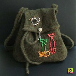 Cat & Mouse felted bag (CC0010)