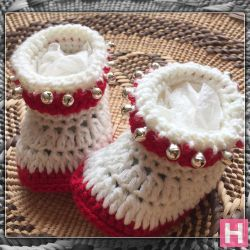Baby Booties in Red and White (CH0379)