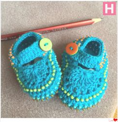 Blue Baby Shoes with Colourful beads (CH0378)