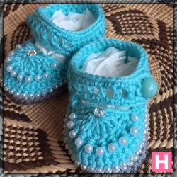 Blue Montee Baby Shoes (CH0382)