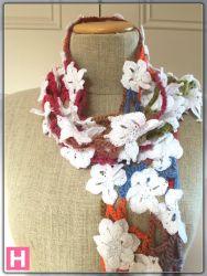 Crochet White Flower Scarf (CH0384)