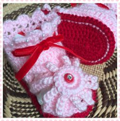 Pink & Red Daisy Open Baby Sandals (CH0391B)