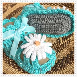 Blue Daisies Open Baby Sandals (CH0391C)