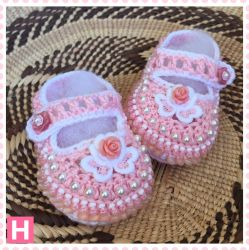 Pink Flower Crochet Baby Shoes (CH0386)