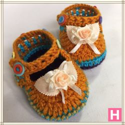 Rose & Buttons Baby Shoes (CH0389)