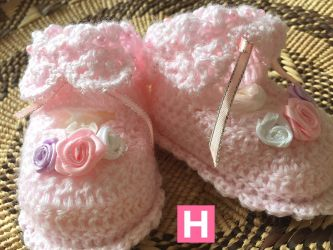 Roses Pink Baby Shoes (CH0385D)