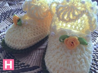 Yellow Rose Baby Shoes (CH0385E)