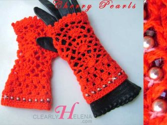 Cherry Pearls Fingerless Gloves (CH0276h - Sold)