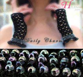 Daily Charm Beaded Fingerless Gloves - CH0276g (Sold)