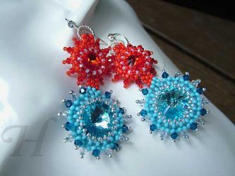 Fire Water Earrings with Swarovski Elements (CH0246 - Sold)