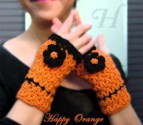 Happy Orange Fingerless Gloves (CH0263u - Sold)