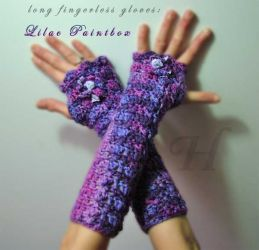 Lilac Paintbox Long Fingerless Gloves - CH0263r (N/A)