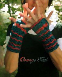 Orange Teal Fingerless Gloves (CH0263d - Sold)