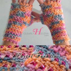 Pastel Fuchsia Beaded Fingerless Gloves - CH0276c (N/A)