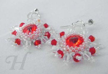 Red Sun Swarovski earrings (CH0243 - Sold)