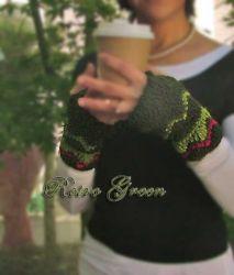Retro Green Fingerless Gloves - CH0263b (N/A)