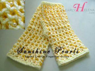 Sunshine Pearls Fingerless Beaded Gloves - CH0276d (Sold)