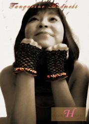Tangerine Madness Swarovski Beaded Fingerless Gloves - CH0276J (N/A)