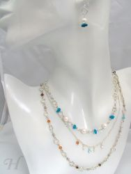 Triple Chain Swarovski & Turquoise - CH0229 (sold)