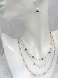 Triple Chain Swarovski & Turquoise - CH0229 (sold)