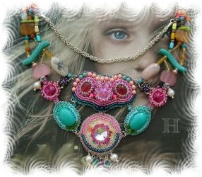 My Wild Contessa - mix media necklace - CH0308 (Sold)