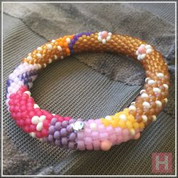 African Headscarf2 Beaded Crochet Bangle [Small] - CH0404B