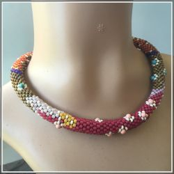 African Headscarf2 - Beaded Crochet Choker (CH0404n)