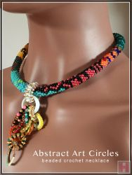 Abstract Art Circles crochet necklace - CH0400 (SOLD)