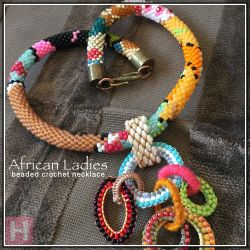 African Ladies beaded crochet necklace - CH0403 (SOLD)