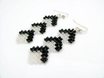 B/W Art Deco styled Earrings in Swarovski crystals (CH0143 - Sold)