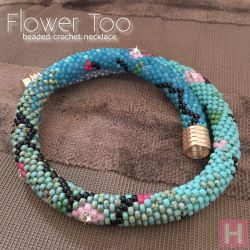Flower Too beaded crochet necklace - CH0408