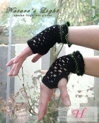 Nature's Light beaded fingerless gloves (Small) CH0276i