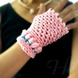 Pink Baubles Fingerless Gloves (Small) - CH0250