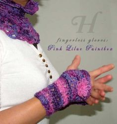 Pink-Lilac Fingerless Gloves (Small) - CH0263S - SOLD