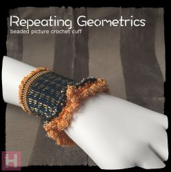 Repeating Geometrics beaded crochet cuff - CH0411