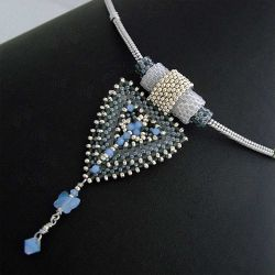 Silver Gray Triangle 3D Necklace (CH0190 - N/A)